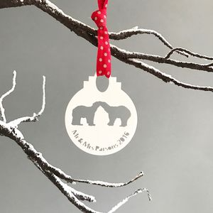 Personalised 'Mr And Mrs' Polar Bear Bauble