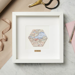 Personalised Hexagon Vintage Map Picture