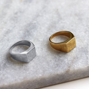 Sterling Silver And 18ct Gold Vermeil Signet Ring