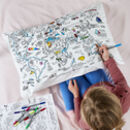 fun colour-in world map pillowcase