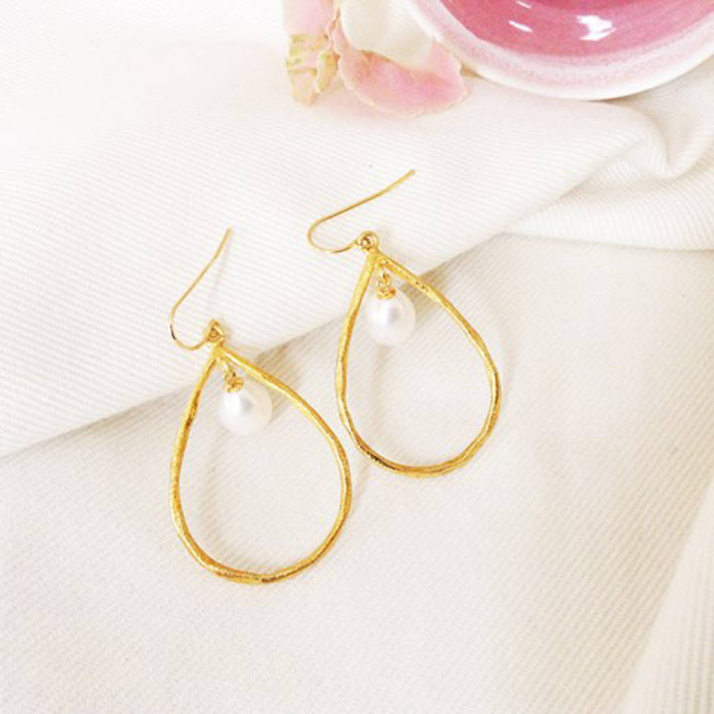 Halo Drop Pearl And Gold Vermeil Earrings