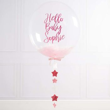 Personalised New Baby Feather Filled Balloon