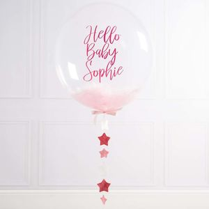 Personalised New Baby Feather Bubble Balloon - baby shower
