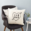 Personalised Initials And Date Love Heart Cushion