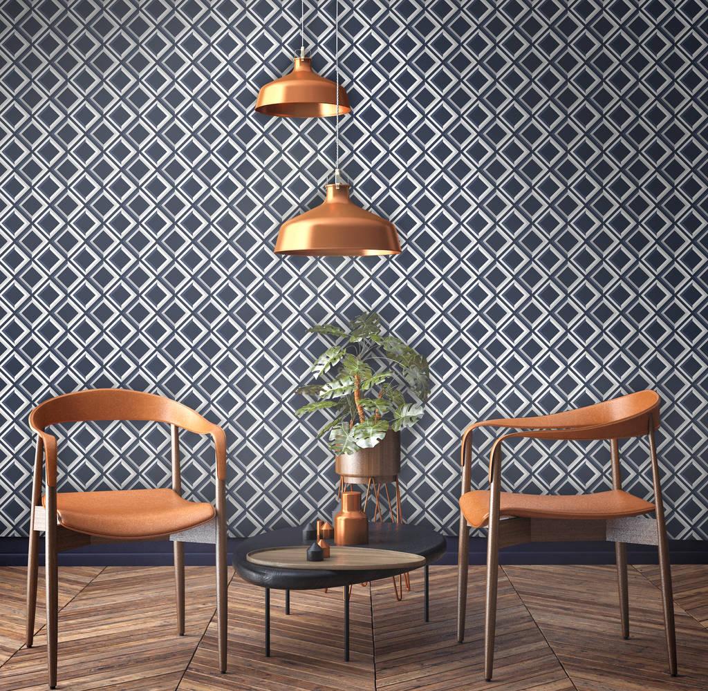 Lattice Wallpaper: Vintage Style Blue Lattice Geometric Wallpaper By Surface