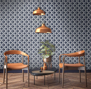 Vintage Style Blue Lattice Geometric Wallpaper