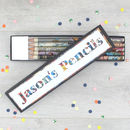 pencil box gift set personalised message by six0six design
