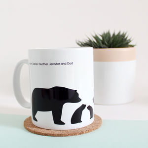 Bear Family, Personalised Silhouette Mug - tableware