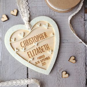 Personalised Wedding Or Anniversary Heart - 5th anniversary: wood