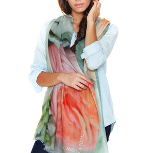 Ladies Silk Cashmere Floral Pastel Scarf, Peonies - women's accessories sale