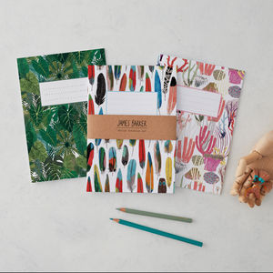 Botanical, Feather, And Coral Notebooks Set Of Three