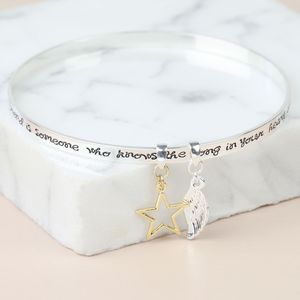 'A Friend Is Someone' Meaningful Words Charm Bangle - bracelets & bangles