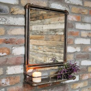 Factory Pipe Mirror With Shelf
