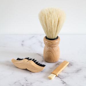 Beech Wood Mens Shaving Brush Set
