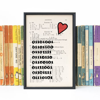 'I Love You' Binary Book Page Print