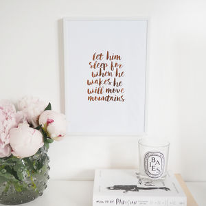 'Let Him/Her Sleep' Wall Art Foil Print