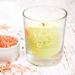 Thank You Personalised Votive Candle Holder - tableware