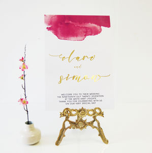 Ink Gold Foil Personalised Watercolour Wedding Sign