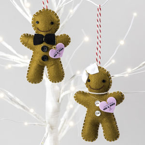 Personalised Bride And Groom Christmas Decorations - personalised
