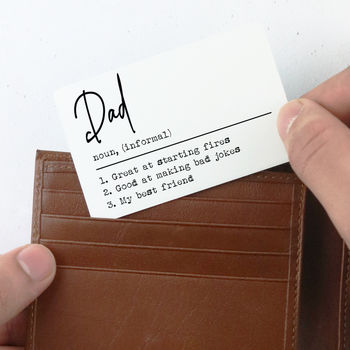 Personalised 'Definition' Wallet Card