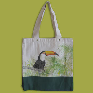 Handpainted Tropical Bird On A Bag