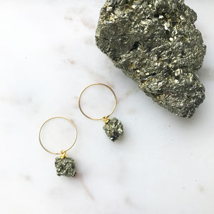 Pyrite Cubic Hoop Dropper Earrings