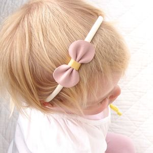 Leather Mini Bow Baby Toddler Headband Pink And Yellow