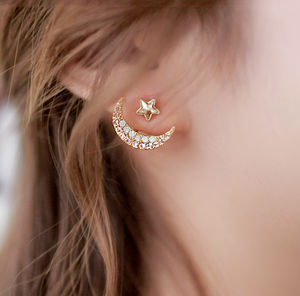Star With Crescent Two Way Earrings - under £25