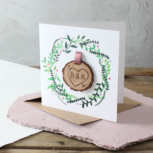 Engraved Tree Slice Keepsake Card - original valentine's cards