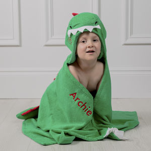Personalised Devin Dinosaur Hooded Towel
