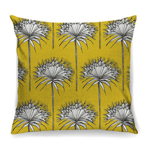 Yellow 'Cottonbud' Designer Cushion + Waterproof - living room
