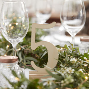 Natural Free Standing Wooden Wedding Table Number