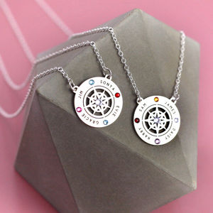 Family Name Necklace On Sterling Silver Compass