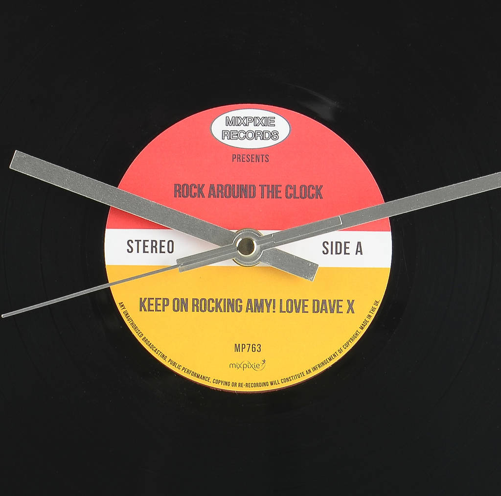 personalised vinyl record wall clock by mixpixie ...