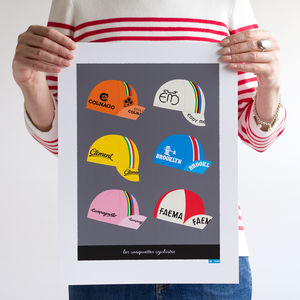 Cycling Caps Art Print