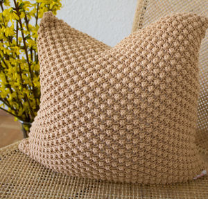 Strikk Hand Knit Pebble Stitch Cushion In Buff - plain cushions