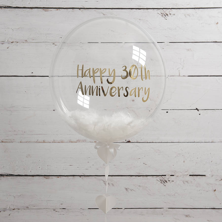 Personalised Pearl Anniversary Feather Balloon