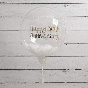 Personalised Pearl Anniversary Feather Balloon - decoration