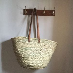 Handmade French Market Baskets Long Leather Handles