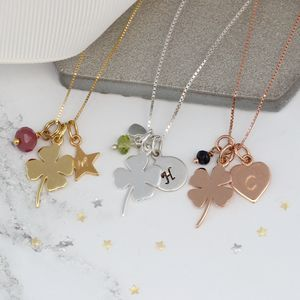 Personalised Good Luck Charm With Birthstones Necklace - children's jewellery