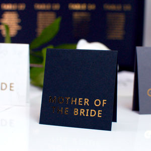 Black And Gold Wedding Place Cards