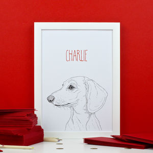 Personalised Smooth Haired Dachshund Portrait Print - animals & wildlife