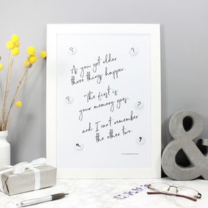 Magnetic Memo Board And Fun Typographic Quote Print