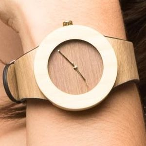 Bamboo And Brown Leather Watch