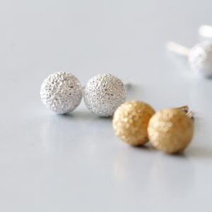 Sterling Silver Textured Ball Earrings Studs