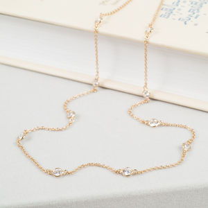 Long Cubic Zirconia And Gold Necklace