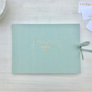 Personalised Sage Wedding Guest Book - albums & guest books