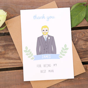 Best Man Or Usher Personalised Thank You Card - best man & usher cards