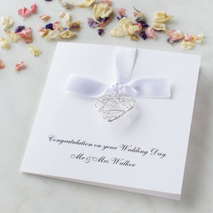 Personalised Wire Heart Wedding Day Card - necklaces & pendants