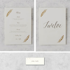 'Flock Of Gold' Wedding On The Day Stationery Bundle - table numbers